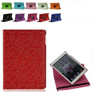 Wholesale 360 degree Rotary Rotating Stand USA UK National Flag Diamond Flower Flip PU Leather Case for ipad Mini Air21 New