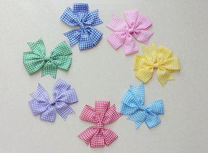 12pcs lot Green Red Blue Yellow Gingham Check School Hair Bow Clips Back To School Dress