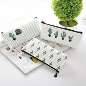 Wholesale Creative cactus Pencil Case Purse canvas Portable Pen Money Wallet stripe zipper Pouch Pocket Keyring Gift Kawaii pencil Bag cute design