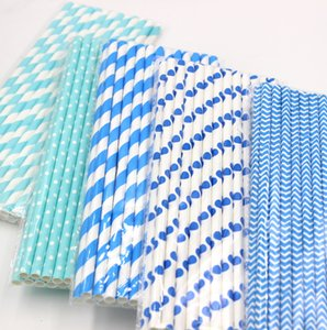 Wholesale 125pcs bags Random Blue Strip Dot Chevron Wedding Decorative Party Decoration Supplies Drinking Paper Straws