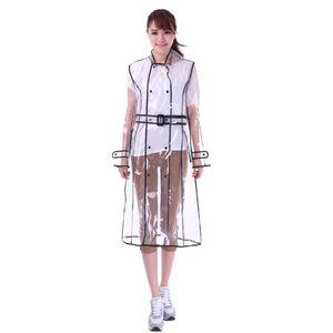 EVA Transparent Raincoat With Belt Long Raincoat for Women Waterproof Jacket Windbreaker Rain Poncho Outdoors capa de lluvia