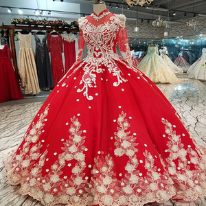 Wholesale 2019 High Neck Long Sleeves Lace Up Back Formal Evening Dresses Can Make For Muslim Evening Dresses Polyester Long Girls Pageant Dress