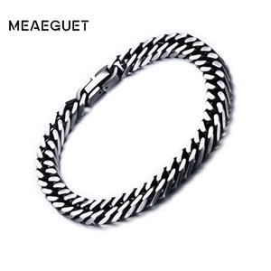 Wholesale Meaeguet mm mm Wide Vintage Stainless Steel Chain Link Bracelet Men Jewelry Matte Finished Hand Chain Bracelet Bangle