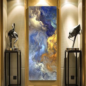 Wholesale room painting colors for sale - Group buy WANGART Abstract Colors Unreal Canvas Poster Blue Landscape Wall Art Painting Living Room Wall Hanging Modern Art Print Painted