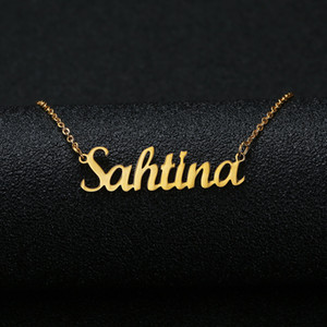 Wholesale personalized necklaces resale online - Gold Silver Color Personalized Custom Name Pendant Necklace Customized Cursive Nameplate Necklace Women Handmade Birthday Gift