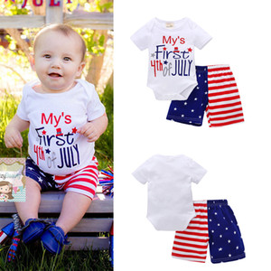 Wholesale Baby Clothing Sets My First th of July Letters Printed American Independence Day Infant US Stars Striped Summer Holiday Gift Outfits M T