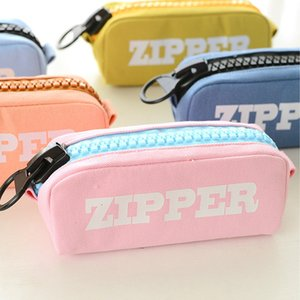 Wholesale Korean Big Zipper Pencil Bag Large Capacity Canvas Pencil Case School Stationery Pen Storage Box Material Escolar Supplies LZ1886