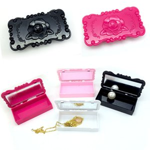 Wholesale High Quality Acrylic Rectangle White Rose Pink Black Rose Flower Eyelash Storage Box Mirror Case Makeup Cosmetic Organize Tool Kit