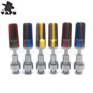 Wholesale ecig new drip tip resale online - NEW Atomizer Th205 Th210 Vaporizer Cartridge Ceramic Drip Tip Glass Tube ml ml Thread mm holes Wickless Ecig DHL Free