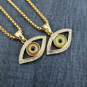 Wholesale Hiphop Stainles Steel Pendant Necklace Titanium Turkey Eyes for Men Women Fashion Jewelry