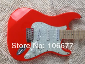 Free Shipping F ST Custom Red LEDs Pearl White Guard Board Bridge Signature Electric Guitar