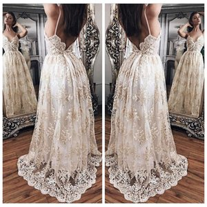 Wholesale Stunning V Neck Princess Prom Dresses Lace Appliques Spaghetti Straps Backless Evening Party Dress Sweep Train Evening Gowns