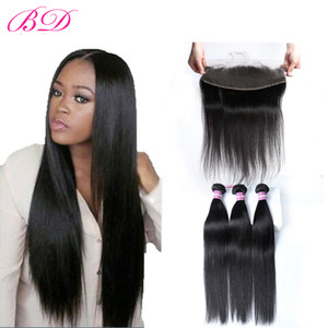BD Brazilian Straight Virgin Hair 100% Malaysian Indian Peruvian 3 Bundles With Frontal Closure Dyeable Full Cuticle Ear To Ear
