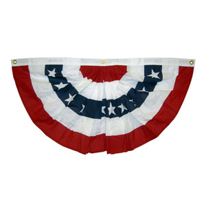 Wholesale 1 x3 ft printed stripes stars USA Pleated Fan bunting Half Fan Banner flag for july th independence day decoration