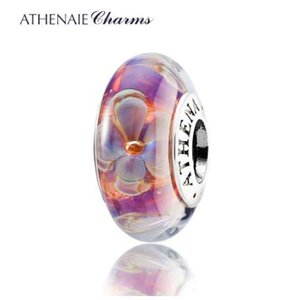 Wholesale ATHENAIE Genuine Murano Glass Silver Core Five Petaled Flowers Charms Beads Fit Pandora Bracelets and Necklaces Color Purple