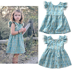Wholesale INS Baby girls Peacock feather print dress summer Cotton Children lace Flying sleeves princess dress Kids Clothing C4245
