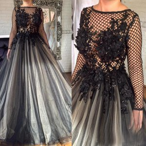 Wholesale 2017 Glamorous Black D Florals Appliques Formal Evening Dresses Pleated Nets Long Sleeve Ashi Studio Dubai Arabic Muslim Prom Party Gowns
