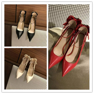 Wholesale 2018 Top Quality Woman Temperamental Genuine Leather Pint tipped Dress shoes Wedding Party Dress Shoes Size Heel High cm