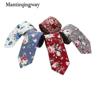 Wholesale Mantieqingway Corbatas Flower Polka Dots Slim Neck Ties for Men Vestidos Tie Blue Flower Printed Narrow Neckties Men Floral Ties