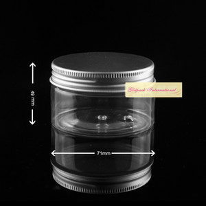 Wholesale 120ml 50pcs lot Clear Thicken Wall Sugar Pot Candy Can 4oz Plastic Container Aluminum Jar PET Cream Jar Creamer Pots cosmetic customized