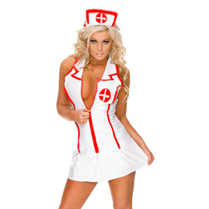 Wholesale Women Cosplay Nurse Erotic Lingerie Sets Hot New Fancy Sexy Dress Hat G string Uniform Halloween Costume Roleplay Underwear S19706