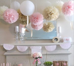 Wholesale festive lanterns for sale - Group buy Eco Friendly Wedding Series Tissue Paper Pom Poms Lanterns Party Decoration Fluffy Flowers Sweet Wedding Decoration Bridal Shower