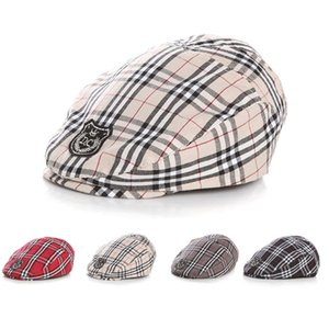 Wholesale classic plaid Infant Beret hat Handsome Baby Hat Adjustable toddler Girls Boys fashion Cap child sun