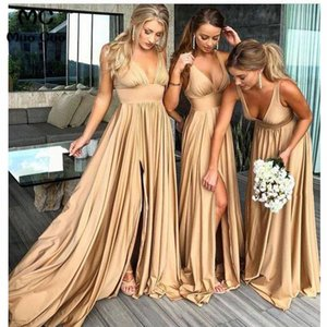 Gold Side Split Bridesmaid Dresses Cheap 2019 Sexy Deep V-neck Backless Simple Taffeta Wedding Dresses For Guests Bridal Party Dress on Sale