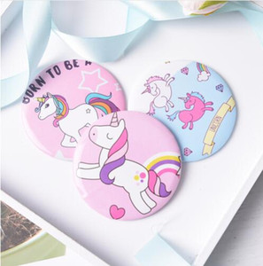 Wholesale 12pcs Cartoon Unicorn mini pocket makeup mirror cosmetic compact mirrors espelho de maquiagem espejos de bolsillo home office use