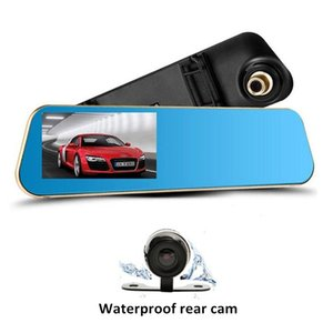 Wholesale 1080P full HD quot car DVR dashcam driving recorder rearview mirror Ch on dash cameras degrees G sensor cycle recording parking monitor
