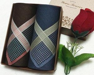 Wholesale Plaid Cotton Set colors Popular Men Check Plaid Handkerchief Cotton Pocket Hankderchiefs cm cm items
