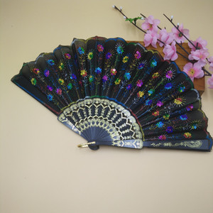 Wholesale Plastic Rib Embroidered Peacock Folding Flower Fan Lace Sequins Dancing Hand Fans Wedding Party Decoration Fans Spainish Fans