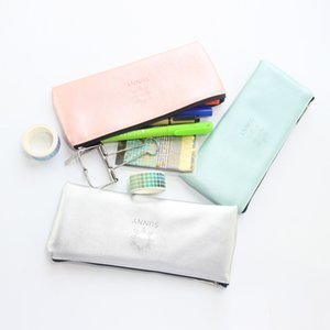 Wholesale Cute south Korea sunny series leather school zipper pencil bag stationery fine student pencil case large capacity colors