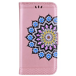 Wholesale for huawei p8 lite p9 lite p10 plus phone case flip leather cover Embossed Datura flowers magnet Buckle card slot stand case