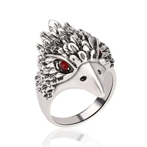 Wholesale Retro bronze men s fingers hawk rings Thai silver diamond ring