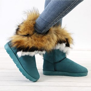 Wholesale Women Warm Winter Snow Boots Ladies Furry Fur Suede Ankle Boots New Female Slip On Flat Fashion Sewing Comfortable Shoes