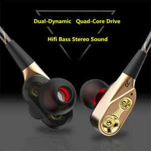 Wholesale Universal Double Unit Drivers headphone In Ear earphone Bass Subwoofer Stereo With Mic Sport HIFI earbuds gaming headset For All Phone OM S3