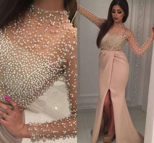 Wholesale Modest khaki High Neck Pearls Prom Dresses Front Slit Chiffon Pleat Sexy Cheap Formal Evening Illusion Sleeve arabic Party Gown Holiday 2018