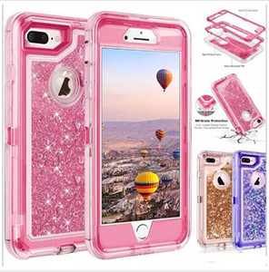 Wholesale High quality bling crystal Liquid glitter case degree cellphone protector Defender rugged shockproof waterproof phone case back cover