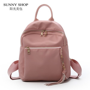 wholesale Casual Nylon Backpack Tassel Women 2018 Stylish Small Bagpack For School Girls Female Cute Notebook backpack Candy