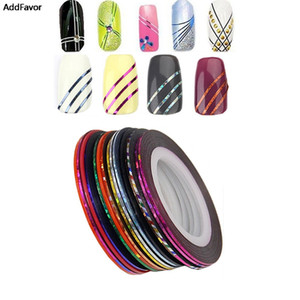 Wholesale AddFavor Striping Tape Line Nail Art Tips Decoration Mix Beauty Nail Rolls Accessories Makeup Fingernail Sticker Tools