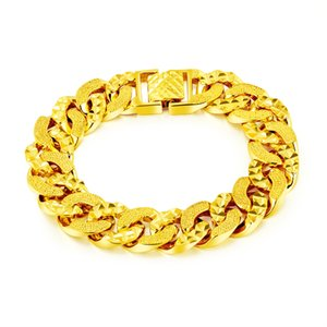 Wholesale Rock mm cm Mens Bracelet For Women Hip hop Irregular Pattern Copper Jewelry Gold Color Curb Cuban Chain Gift