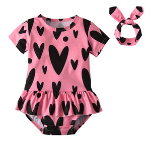 Wholesale Summer Newborn Baby Girls Clothes Toddler Short Sleeve Cute Heart Print Romper Headband Infant Baby Clothing Set