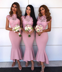 Wholesale see through bridesmaid gowns resale online - 2018 New Tea Length Pink Bridesmaid Dresses See Through Lace Top Cap Sleeve Mermaid Maid Of Honor Dress Party Gowns