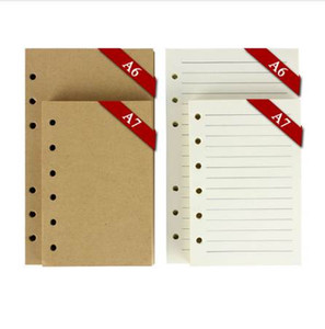 RuiZe vintage notebook filler paper 6 ring binder 80 sheets blank kraft paper white with lines A6 notebook inner paper