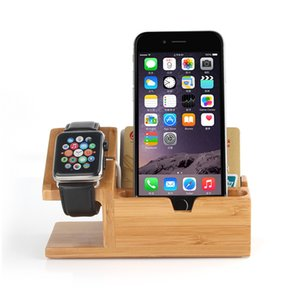 Wholesale Genuine Bamboo Charging Dock for iPhone s s Charger Station Desk Stand Holder for Watch with USB Ports