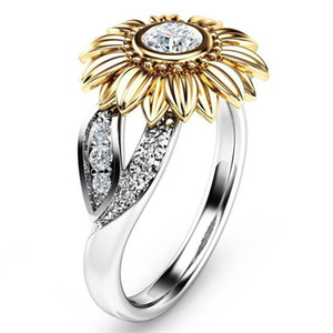 Wholesale sunflowers ring resale online - Modyle New CZ Stone Fashion Jewelry Femme Gold Silver Color Cute Sunflower Crystal Wedding Rings for Women