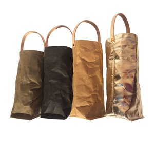 Premium Kraft Paper Wine Gift Bags with Leather Handles Reusable Washable Single Bottle Wine Holder Tote Bag for Christmas Party Shopping