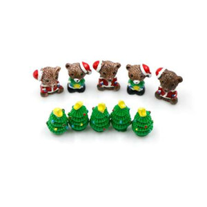Wholesale 5pcs Resin Christmas Bear Trees Figures Miniature Fairy Garden Figurine Dolls House Kids Toys DIY Micro Landscape Accessories