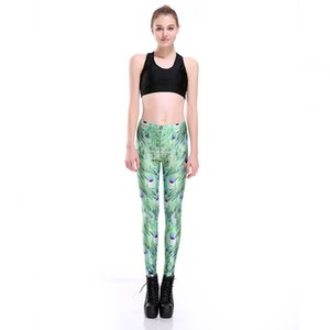 Wholesale Digital Printing Elastic Casual Pants Peacock feather Pattern Women Leggings sizes Fitness Clothing
